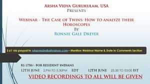 Webinar - The Case of Twins: How to analyze their Horoscopes by Ronnie Gale Dreyer, AVG USA