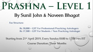 Prashna Course by  Sunil John and  Naveen Bhagat for Students/Non-Practicing Astrologers [SA]