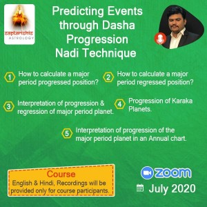 Prediction Events through Dasha Progression Nadi Technique By Vinayak Bhatt (SA)