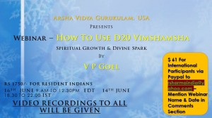 Webinar  - How To Use D20 Vimshamsha for Spiritual Growth & Divine Spark By V P Goel [SA]