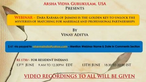 Webinar - Dara Karaka of Jaimini is the golden key to unlock the mysteries of Matching for marriage and professional partnerships By Vinay Aditya