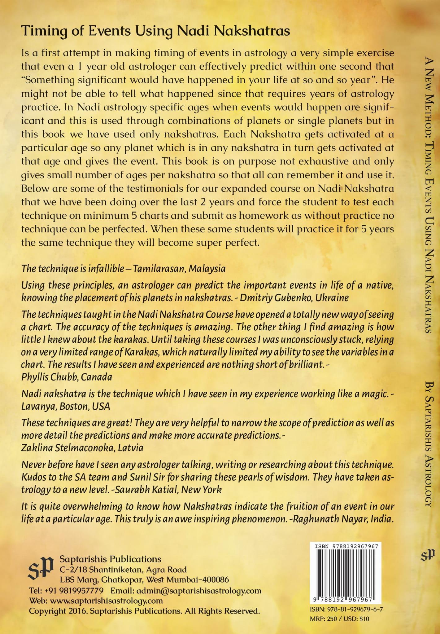 Timing Events Using Nadi Nakshatras By Saptarishis Astrology [SA]